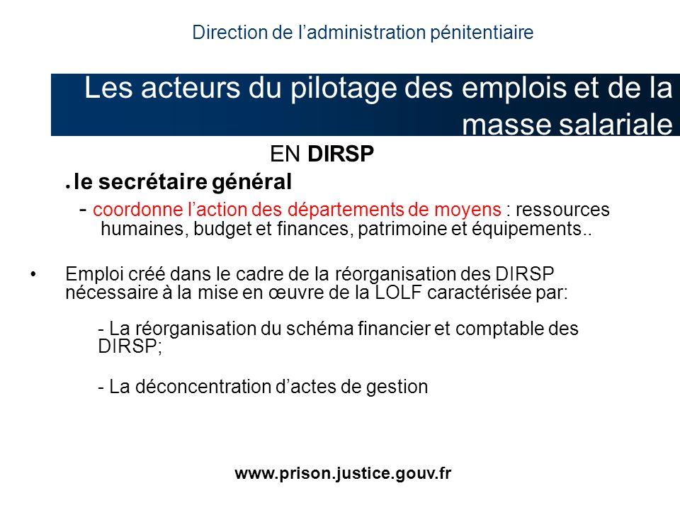 EN DIRSP le secrétaire général - coordonne laction des départements de moyens : ressources humaines, budget et finances, patrimoine et équipements.. E