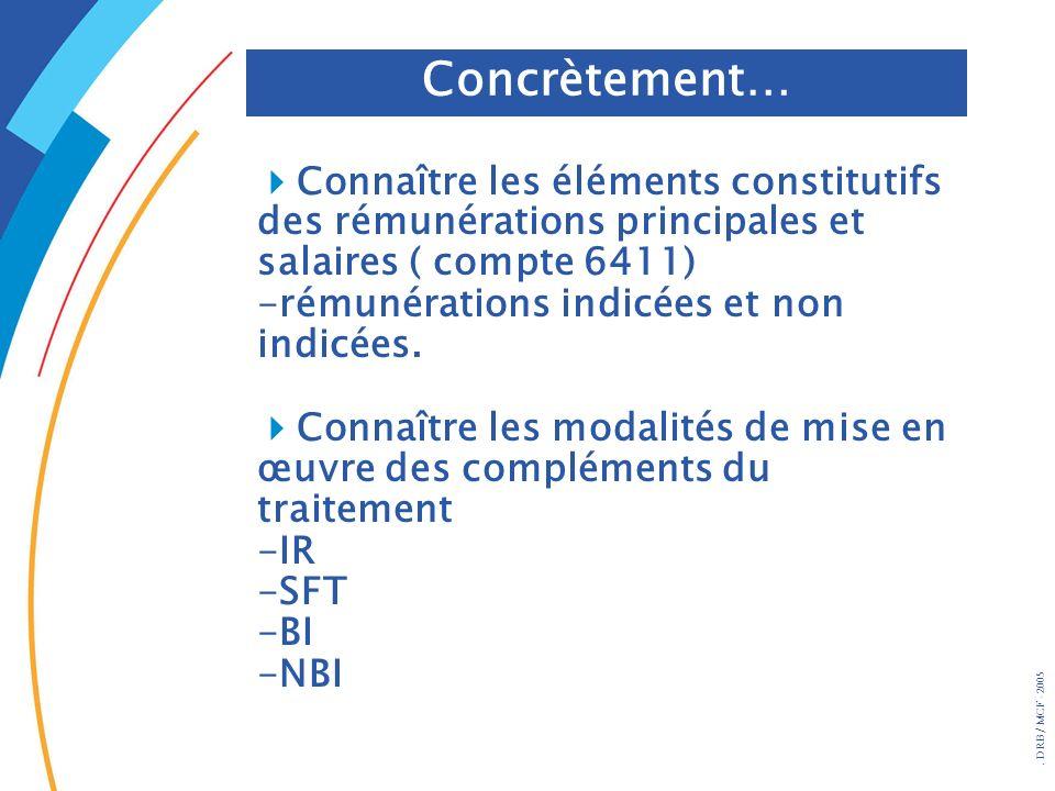 . DRB/ MCF - 2005 Connaître les éléments constitutifs des rémunérations principales et salaires ( compte 6411) -rémunérations indicées et non indicées