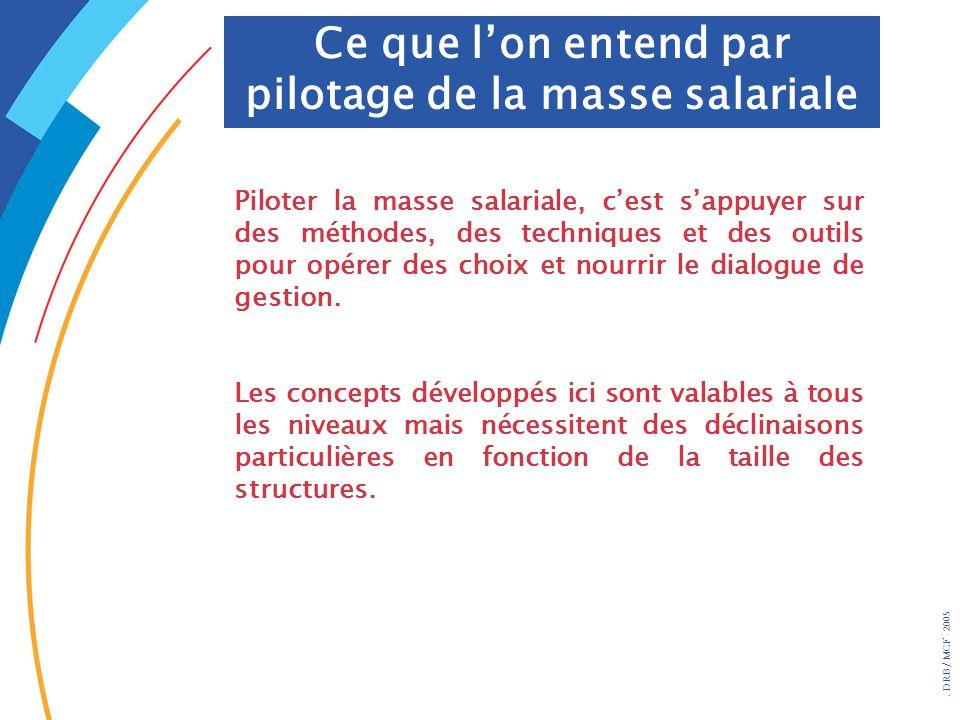 . DRB/ MCF - 2005 Piloter la masse salariale, cest sappuyer sur des méthodes, des techniques et des outils pour opérer des choix et nourrir le dialogu