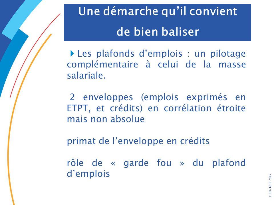 . DRB/ MCF - 2005 Les plafonds demplois : un pilotage complémentaire à celui de la masse salariale. 2 enveloppes (emplois exprimés en ETPT, et crédits