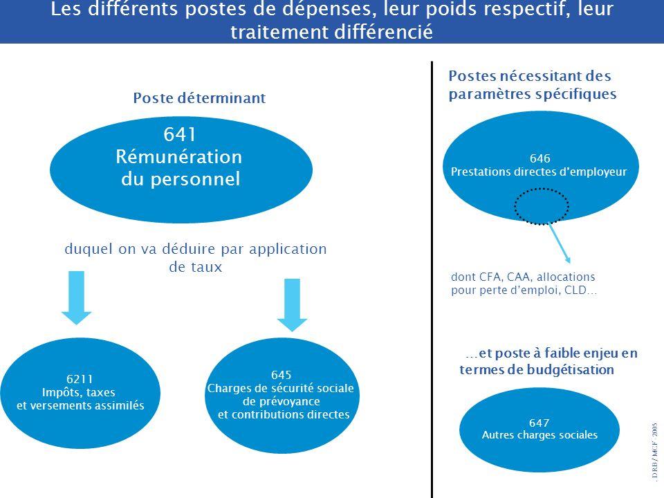 . DRB/ MCF - 2005 Les différents postes de dépenses, leur poids respectif, leur traitement différencié 646 Prestations directes demployeur 645 Charges