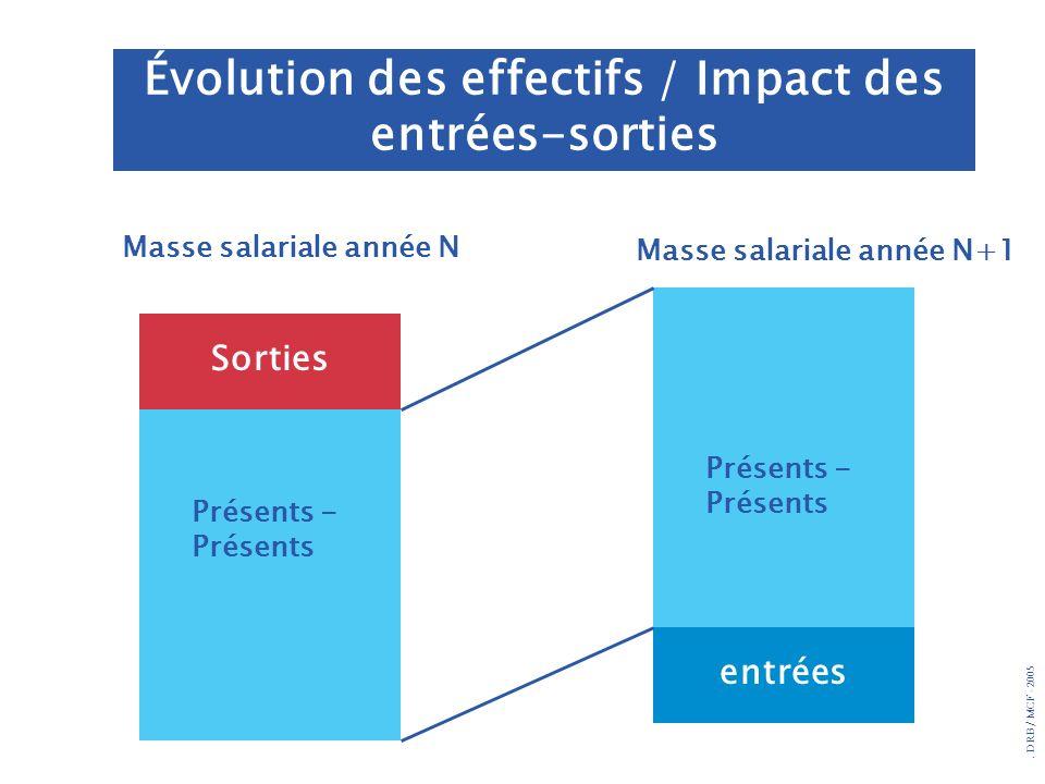 . DRB/ MCF - 2005 Évolution des effectifs / Impact des entrées-sorties Présents - Présents entrées Sorties Masse salariale année N Masse salariale ann