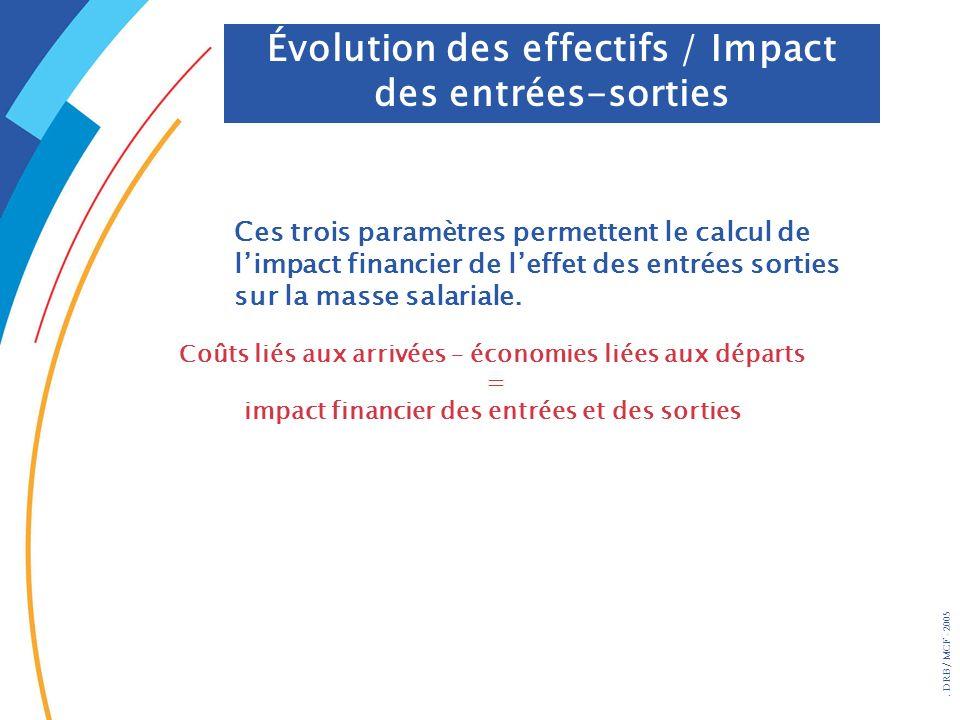 . DRB/ MCF - 2005 Évolution des effectifs / Impact des entrées-sorties Ces trois paramètres permettent le calcul de limpact financier de leffet des en