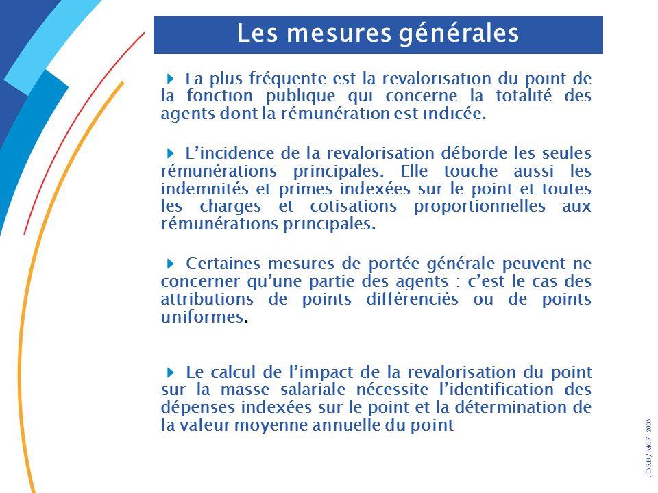 . DRB/ MCF - 2005 Les mesures générales La plus fréquente est la revalorisation du point de la fonction publique qui concerne la totalité des agents d