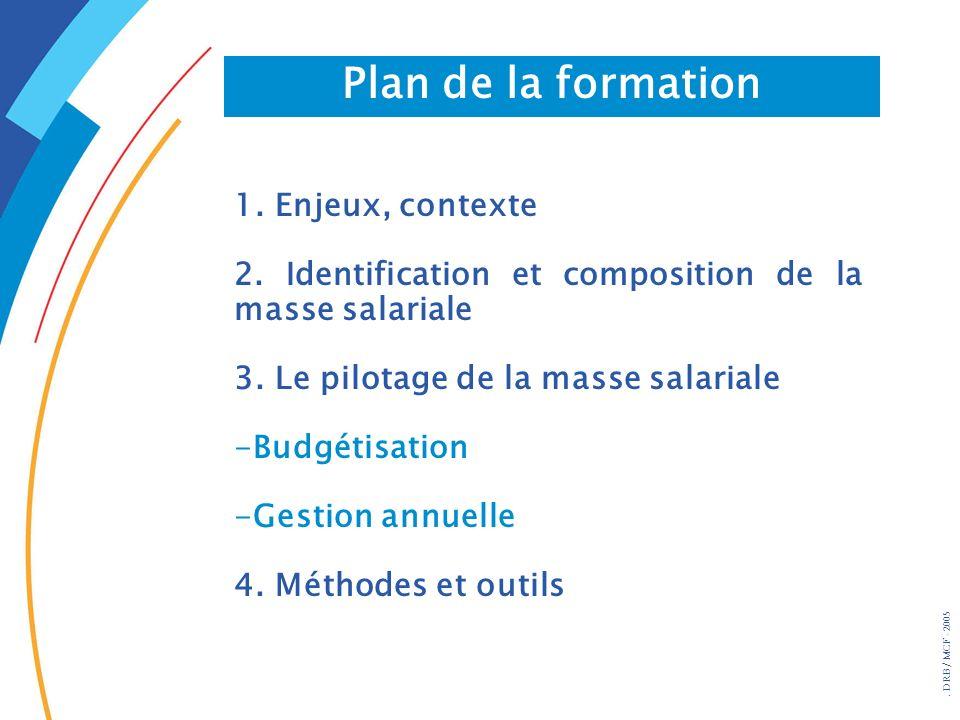 . DRB/ MCF - 2005 Plan de la formation 1. Enjeux, contexte 2. Identification et composition de la masse salariale 3. Le pilotage de la masse salariale