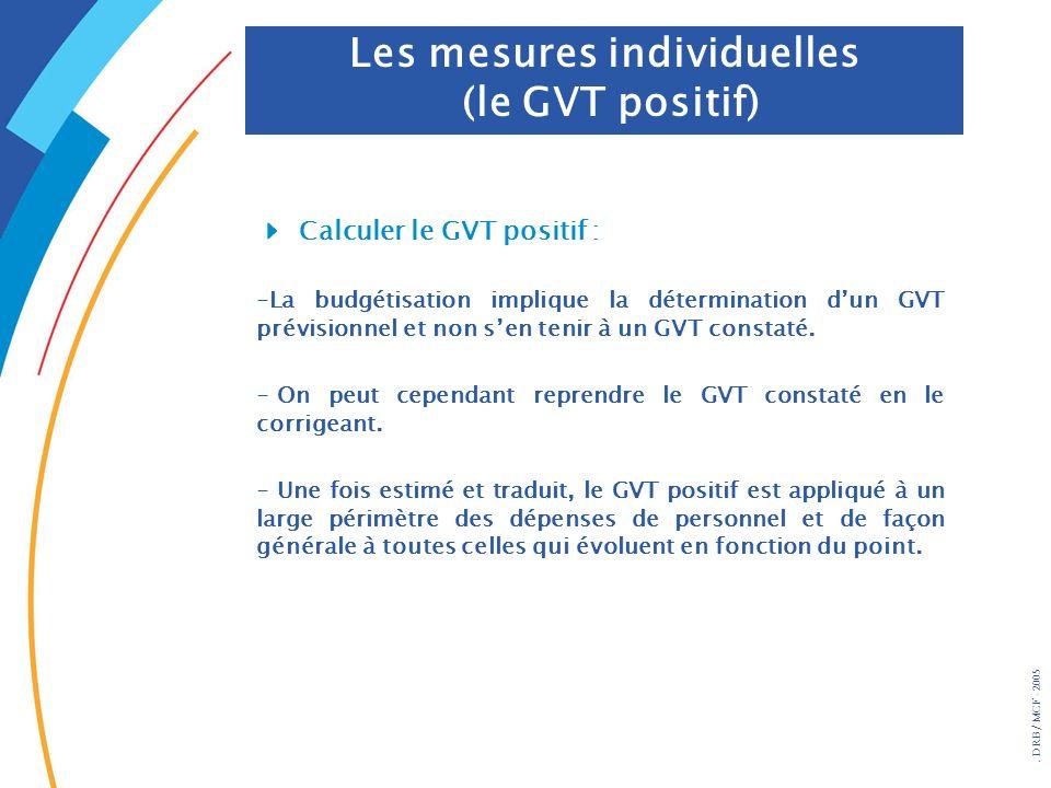 . DRB/ MCF - 2005 Les mesures individuelles (le GVT positif) Calculer le GVT positif : -La budgétisation implique la détermination dun GVT prévisionne
