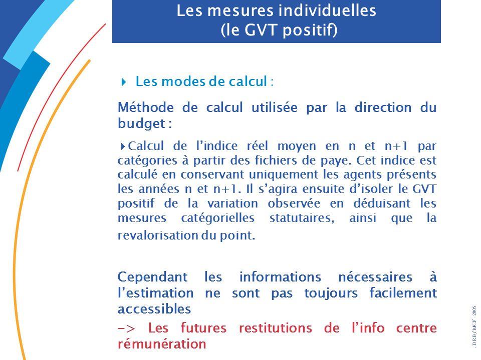 . DRB/ MCF - 2005 Les mesures individuelles (le GVT positif) Les modes de calcul : Méthode de calcul utilisée par la direction du budget : Calcul de l
