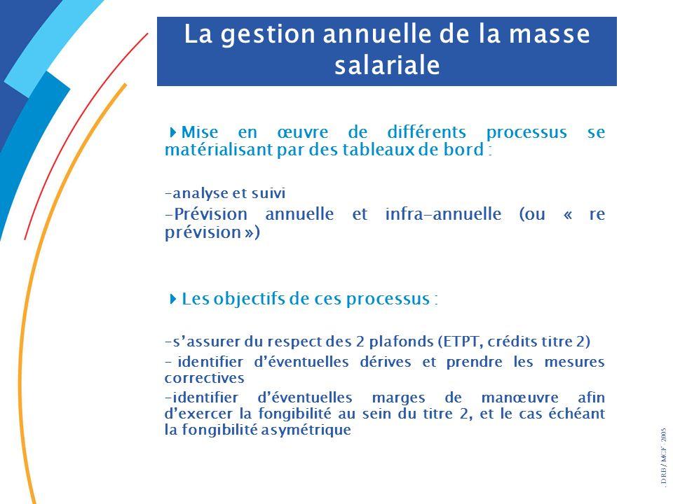 . DRB/ MCF - 2005 La gestion annuelle de la masse salariale Mise en œuvre de différents processus se matérialisant par des tableaux de bord : -analyse