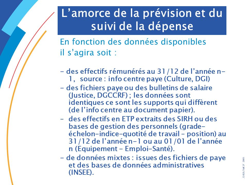 . DRB/ MCF - 2005 En fonction des données disponibles il sagira soit : - des effectifs rémunérés au 31/12 de lannée n- 1, source : info centre paye (C