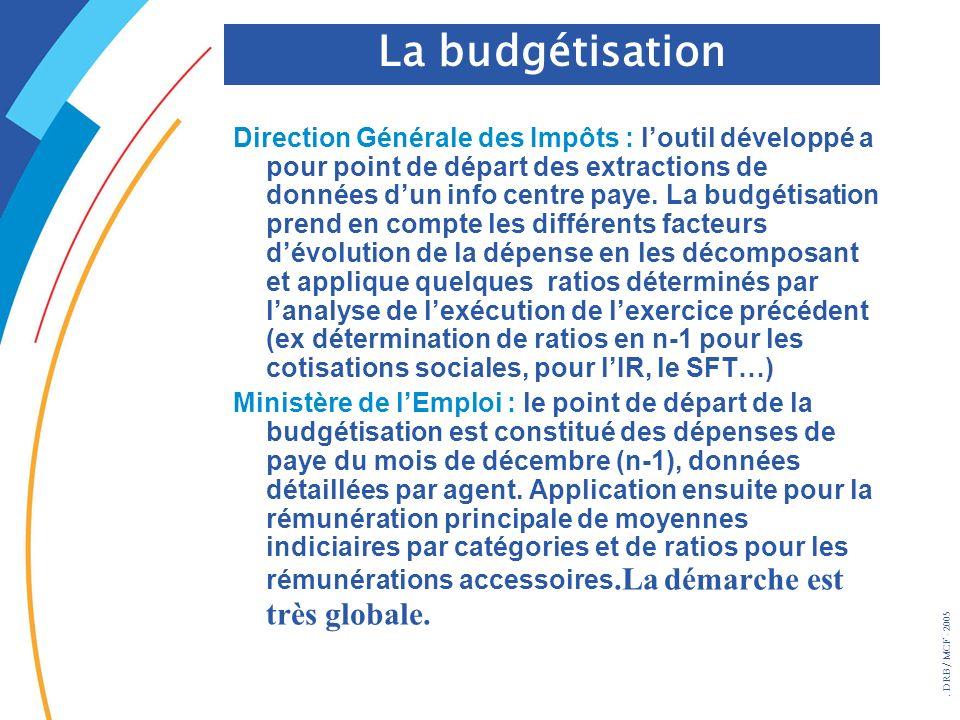 . DRB/ MCF - 2005 Direction Générale des Impôts : loutil développé a pour point de départ des extractions de données dun info centre paye. La budgétis