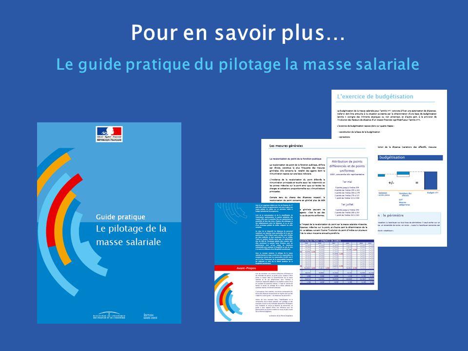 . DRB/ MCF - 2005 Pour en savoir plus… Le guide pratique du pilotage la masse salariale