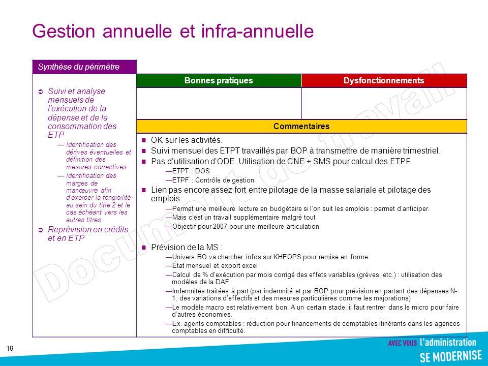 18 Gestion annuelle et infra-annuelle Synthèse du périmètre Suivi et analyse mensuels de lexécution de la dépense et de la consommation des ETP Identi