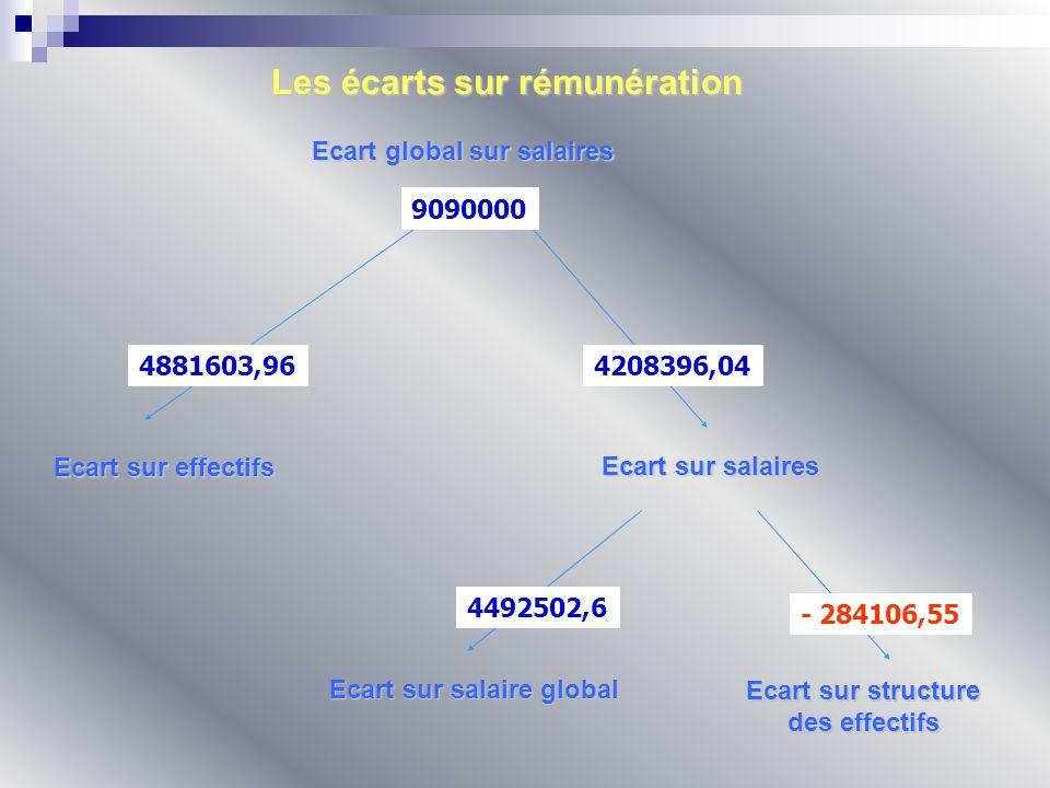 Ecart global sur salaires Ecart sur effectifs Ecart sur salaires Ecart sur salaire global Ecart sur structure des effectifs Les écarts sur rémunératio
