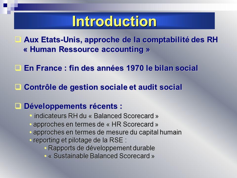 Introduction Aux Etats-Unis, approche de la comptabilité des RH Aux Etats-Unis, approche de la comptabilité des RH « Human Ressource accounting » « Hu