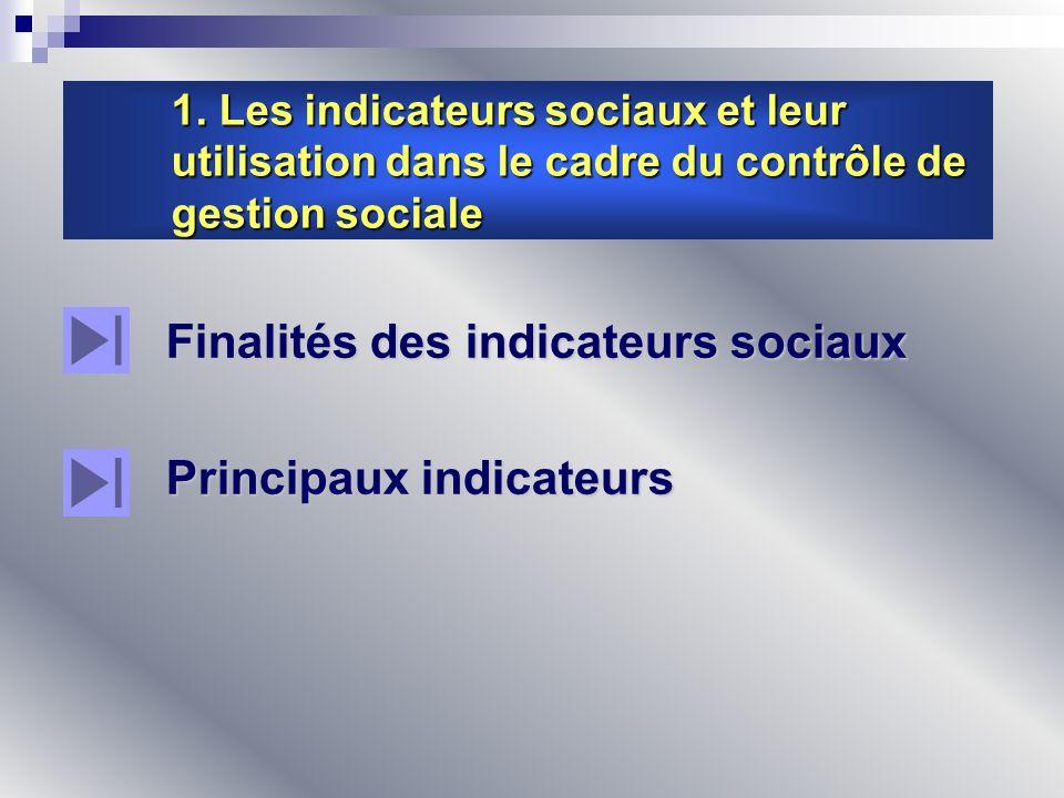 1. Les indicateurs sociaux et leur utilisation dans le cadre du contrôle de gestion sociale Finalités des indicateurs sociaux Principaux indicateurs