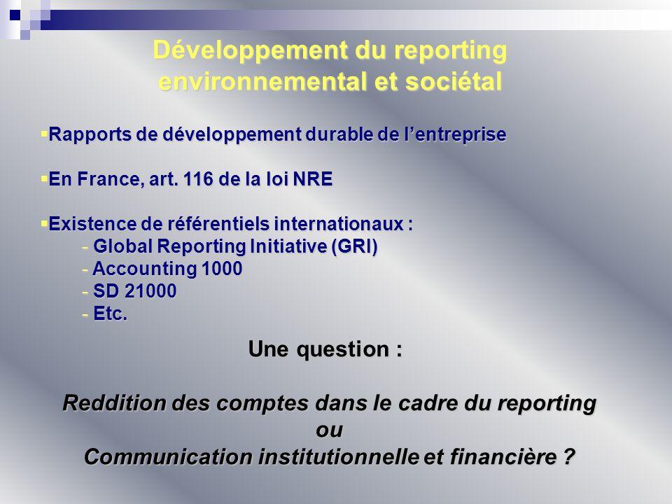 Développement du reporting environnemental et sociétal Rapports de développement durable de lentreprise Rapports de développement durable de lentrepri