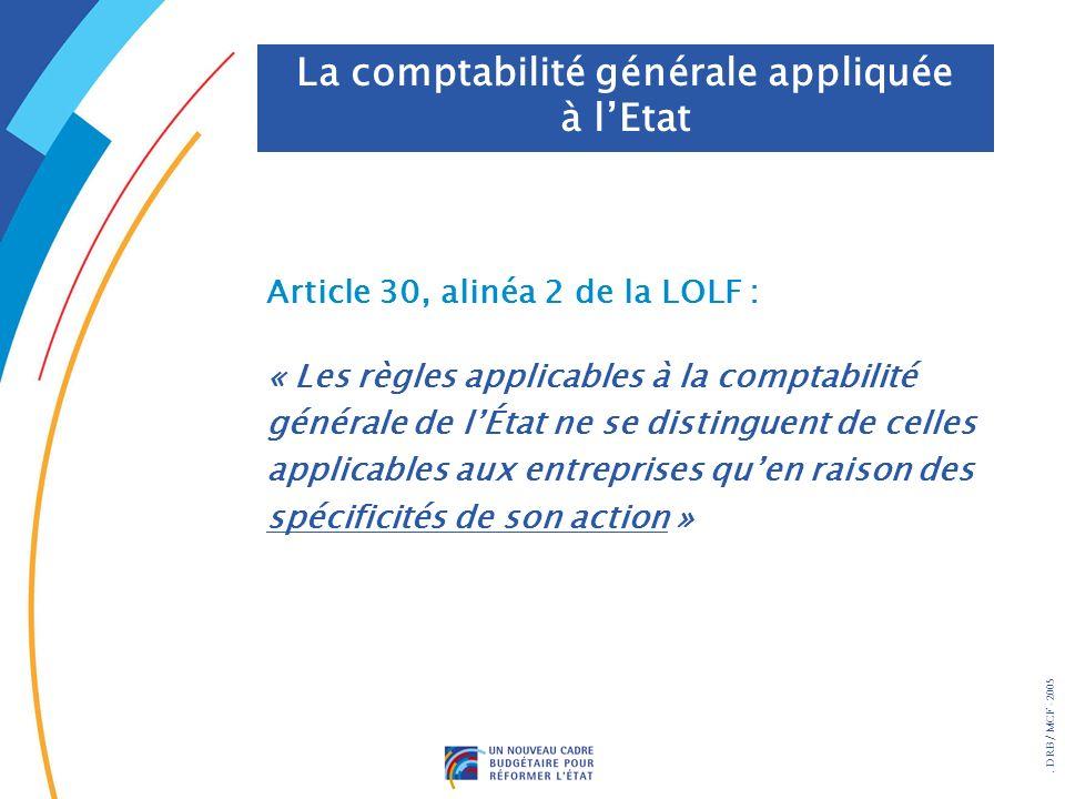 . DRB/ MCF - 2005 Article 30, alinéa 2 de la LOLF : « Les règles applicables à la comptabilité générale de lÉtat ne se distinguent de celles applicables aux entreprises quen raison des spécificités de son action » La comptabilité générale appliquée à lEtat