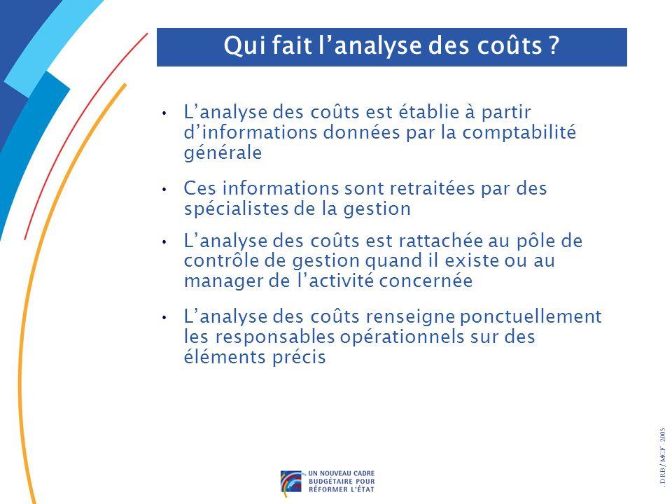 . DRB/ MCF - 2005 Lanalyse des coûts est établie à partir dinformations données par la comptabilité générale Ces informations sont retraitées par des