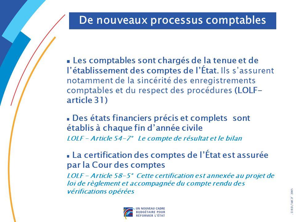 . DRB/ MCF - 2005 n Les comptables sont chargés de la tenue et de létablissement des comptes de lÉtat. Ils sassurent notamment de la sincérité des enr