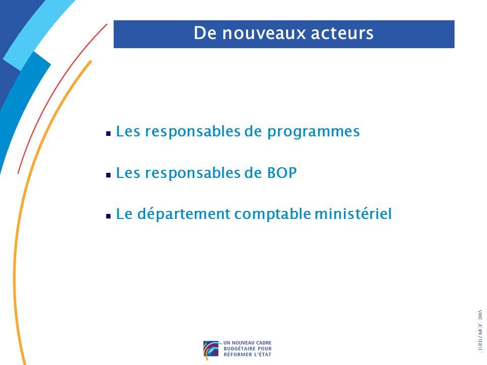 . DRB/ MCF - 2005 n Les responsables de programmes n Les responsables de BOP n Le département comptable ministériel De nouveaux acteurs