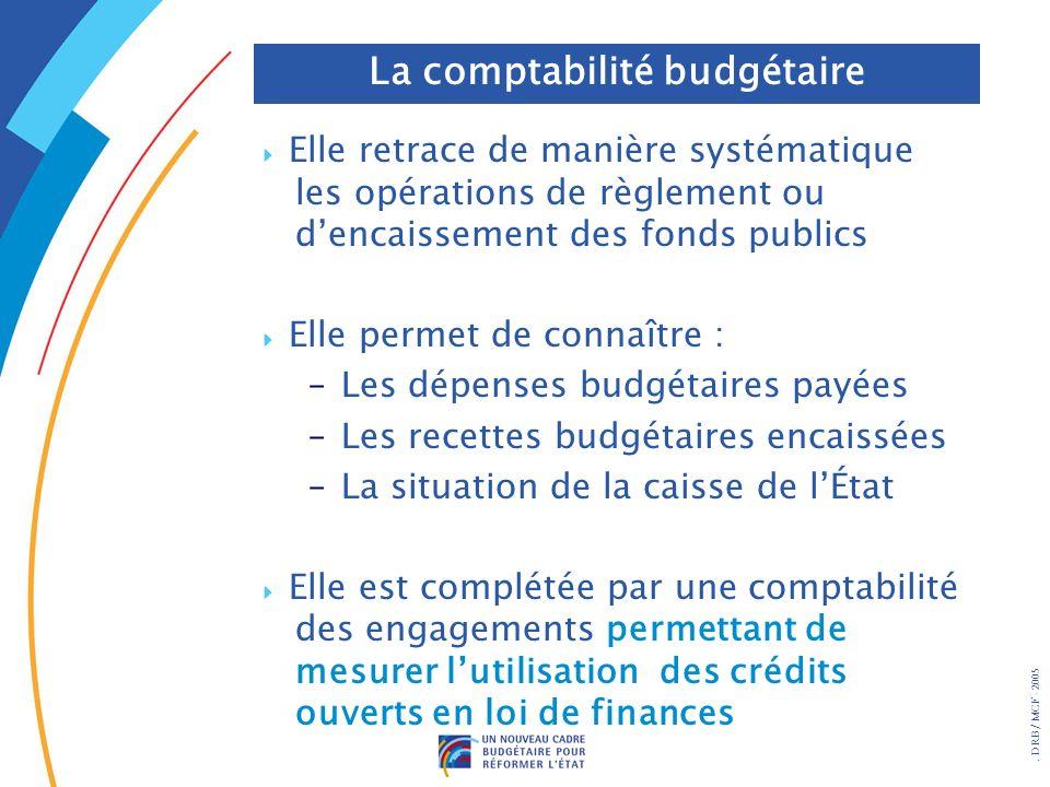 . DRB/ MCF - 2005 Elle retrace de manière systématique les opérations de règlement ou dencaissement des fonds publics Elle permet de connaître : –Les