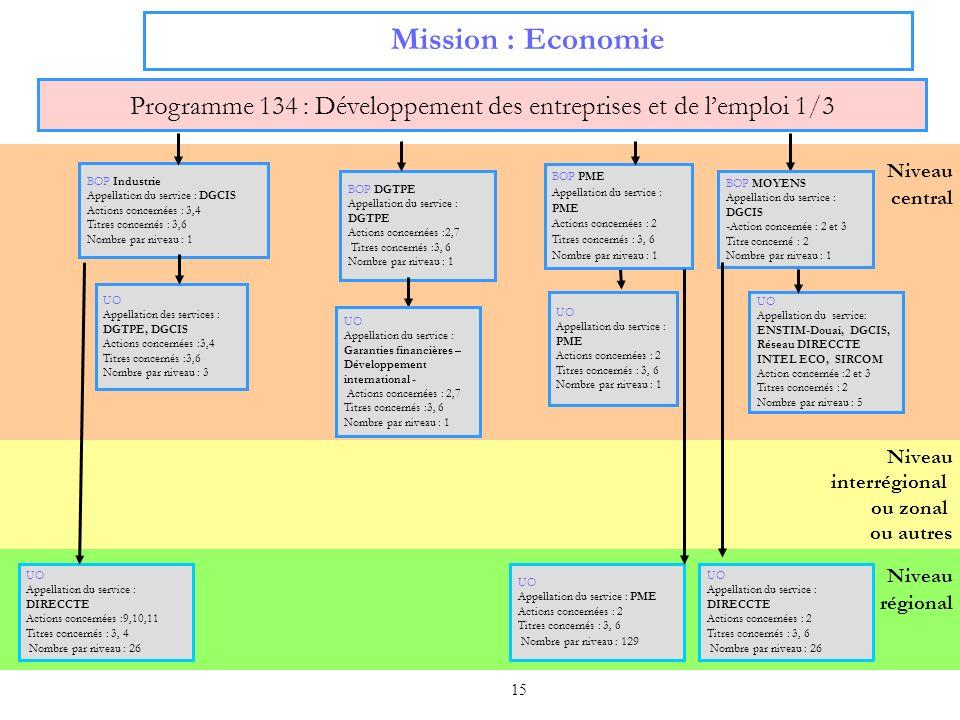 15 Niveau interrégional ou zonal ou autres Niveau régional Niveau central Mission : Economie Programme 134 : Développement des entreprises et de lempl