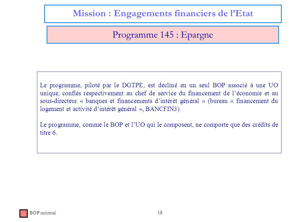 18 Mission : Engagements financiers de lEtat Programme 145 : Epargne BOP national Le programme, piloté par le DGTPE, est décliné en un seul BOP associ