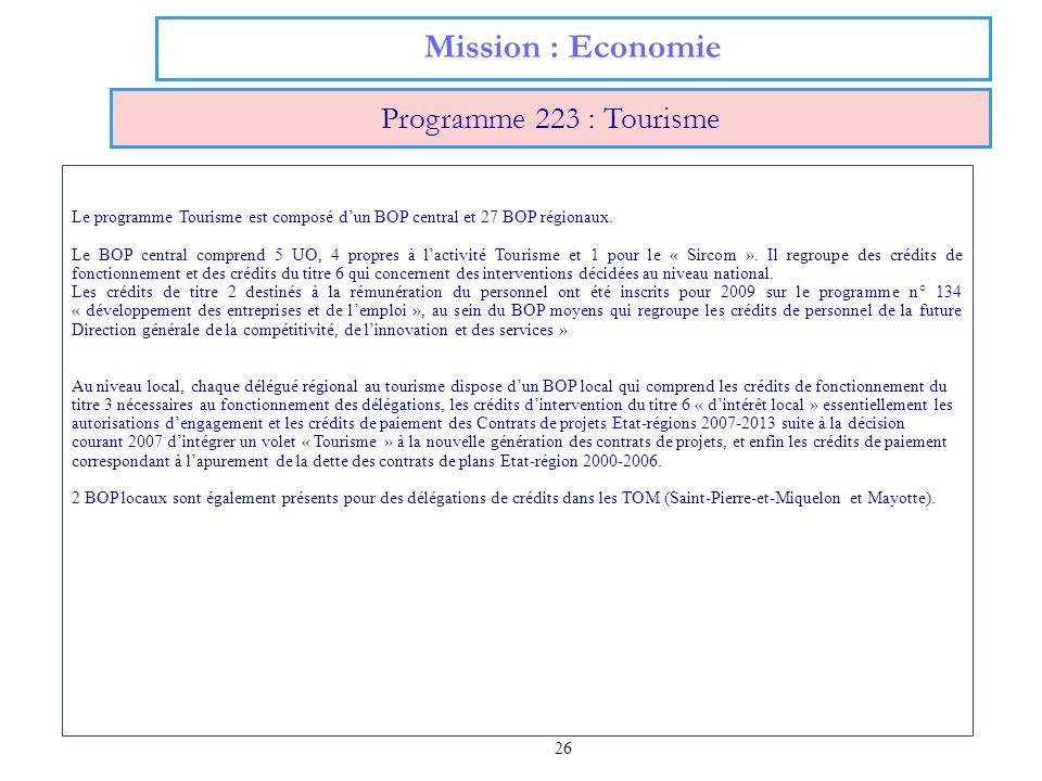 26 Mission : Economie Programme 223 : Tourisme Le programme Tourisme est composé dun BOP central et 27 BOP régionaux. Le BOP central comprend 5 UO, 4