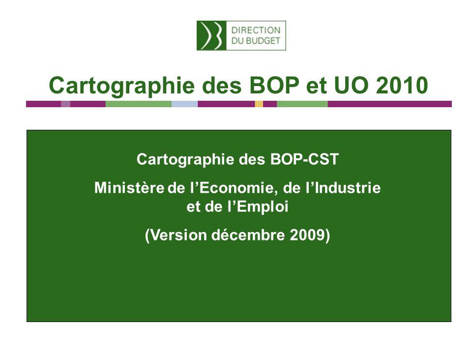 Cartographie des BOP et UO 2010 Cartographie des BOP-CST Ministère de lEconomie, de lIndustrie et de lEmploi (Version décembre 2009)