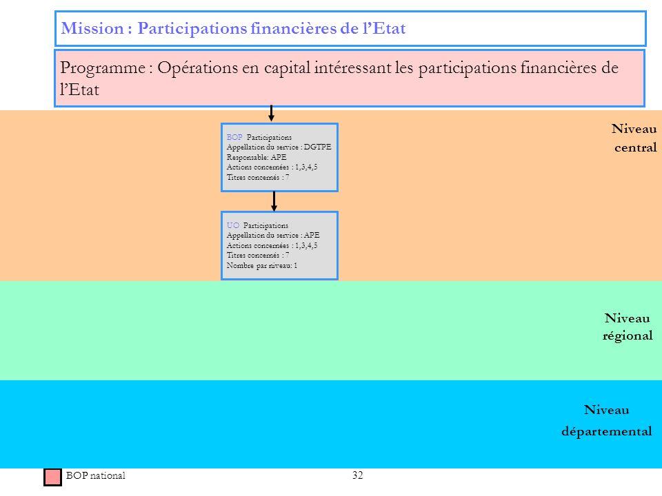 32 Niveau régional Niveau central Mission : Participations financières de lEtat Programme : Opérations en capital intéressant les participations finan