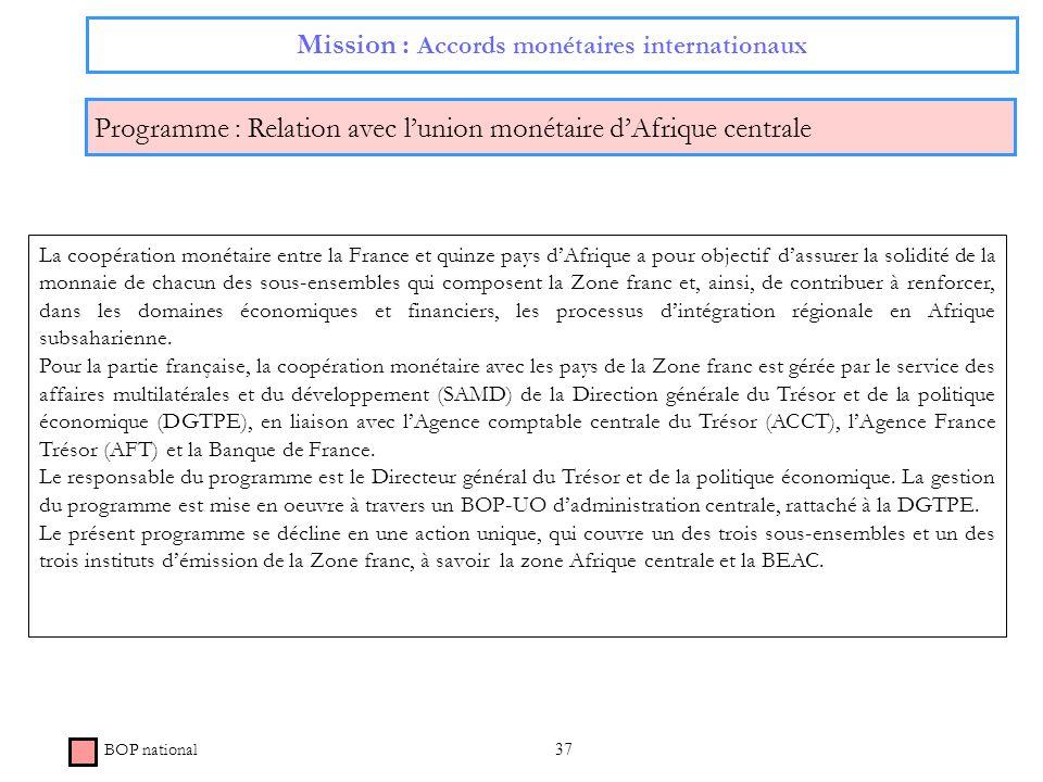 37 Mission : Accords monétaires internationaux Programme : Relation avec lunion monétaire dAfrique centrale BOP national La coopération monétaire entr