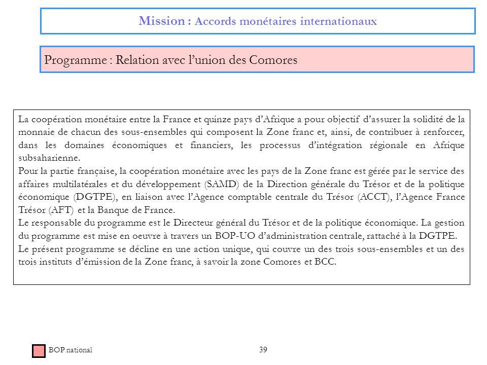 39 Mission : Accords monétaires internationaux Programme : Relation avec lunion des Comores BOP national La coopération monétaire entre la France et q