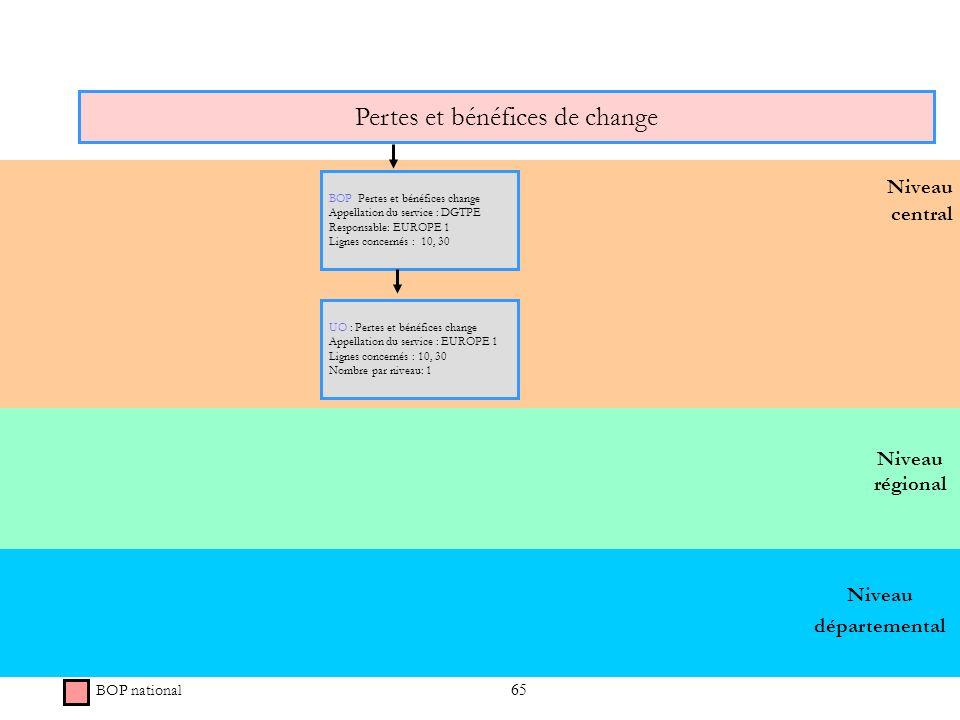 65 Niveau régional Niveau central Pertes et bénéfices de change BOP national BOP Pertes et bénéfices change Appellation du service : DGTPE Responsable