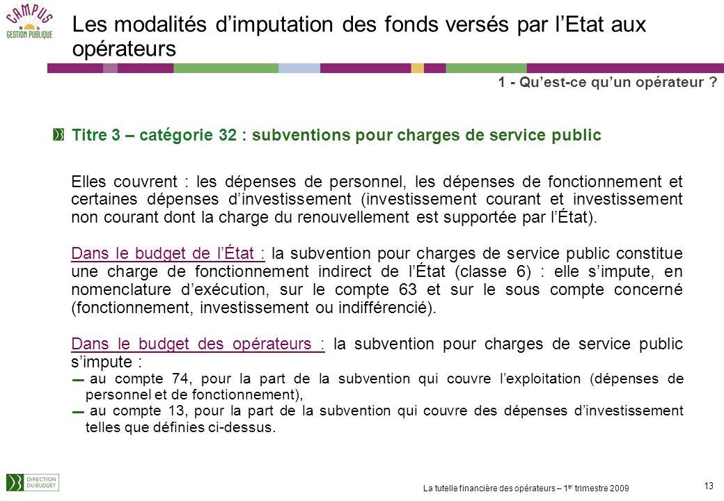 12 La tutelle financière des opérateurs – 1 er trimestre 2009 Le cadre budgétaire des opérateurs La circulaire sur la préparation des budgets des opér