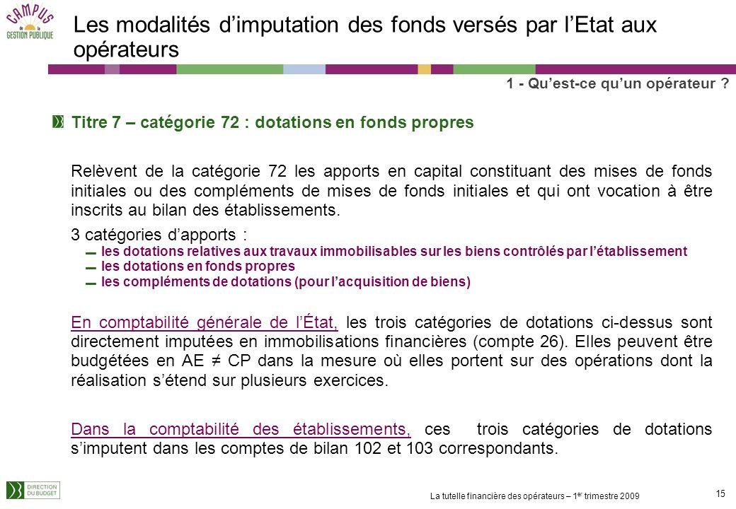14 La tutelle financière des opérateurs – 1 er trimestre 2009 Les modalités dimputation des fonds versés par lEtat aux opérateurs Les subventions pour