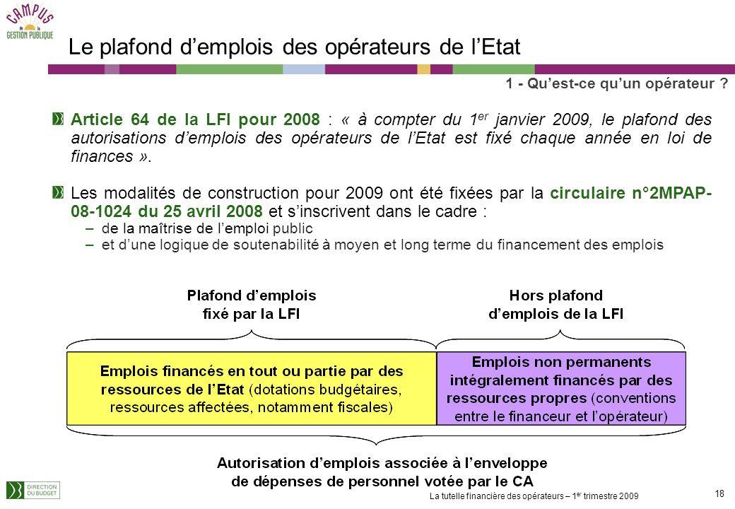17 La tutelle financière des opérateurs – 1 er trimestre 2009 Les modalités dimputation des fonds versés par lEtat aux opérateurs Les transferts corre