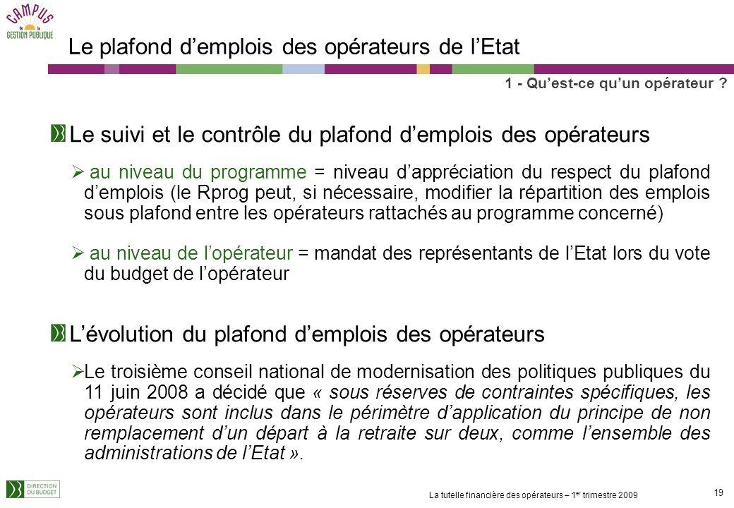 18 La tutelle financière des opérateurs – 1 er trimestre 2009 Le plafond demplois des opérateurs de lEtat 1 - Quest-ce quun opérateur ? Article 64 de
