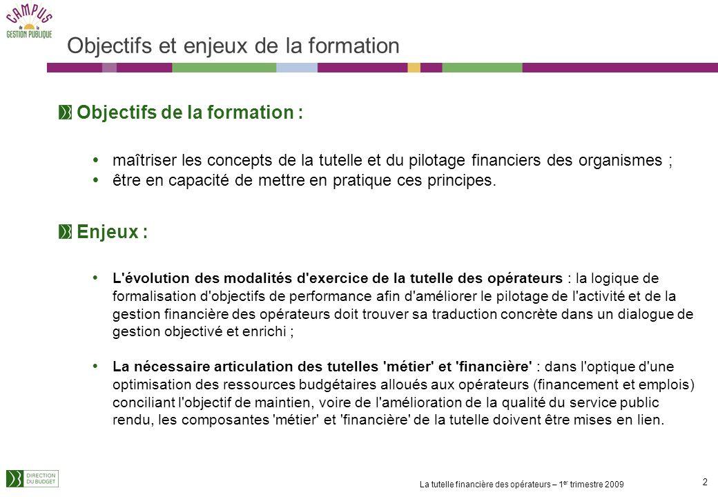 2 La tutelle financière des opérateurs – 1 er trimestre 2009 Objectifs et enjeux de la formation Objectifs de la formation : maîtriser les concepts de la tutelle et du pilotage financiers des organismes ; être en capacité de mettre en pratique ces principes.