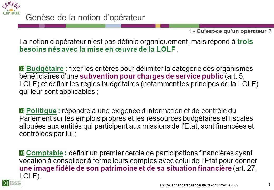 14 La tutelle financière des opérateurs – 1 er trimestre 2009 Les modalités dimputation des fonds versés par lEtat aux opérateurs Les subventions pour charges de service public (SCSP) constituent 74% des crédits versés aux opérateurs 1 - Quest-ce quun opérateur .