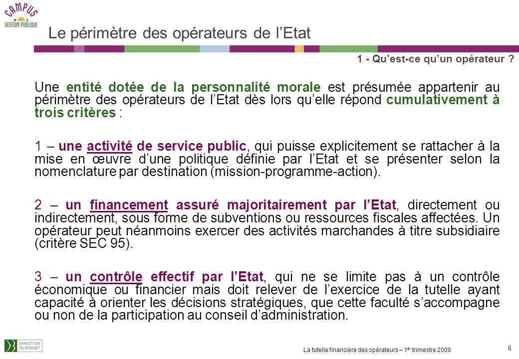 16 La tutelle financière des opérateurs – 1 er trimestre 2009 Les modalités dimputation des fonds versés par lEtat aux opérateurs 1 - Quest-ce quun opérateur .