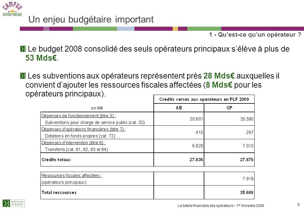 9 La tutelle financière des opérateurs – 1 er trimestre 2009 Un enjeu budgétaire important Le budget 2008 consolidé des seuls opérateurs principaux sélève à plus de 53 Mds.
