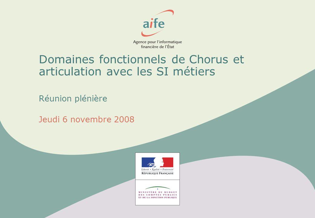 Domaines fonctionnels de Chorus et articulation avec les SI métiers Réunion plénière Jeudi 6 novembre 2008