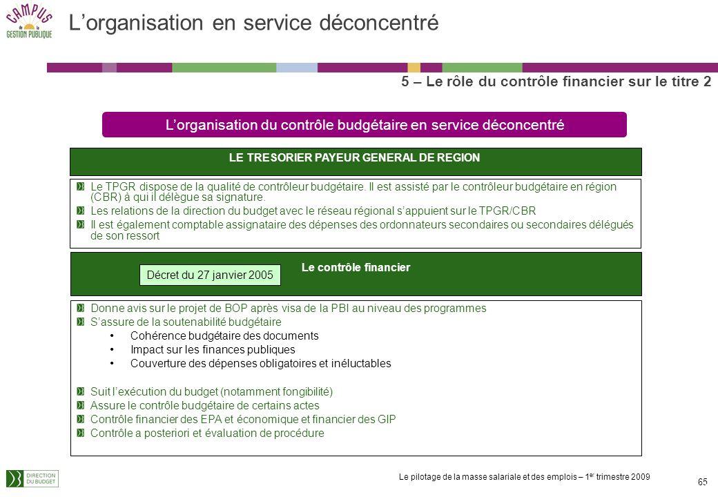 Le pilotage de la masse salariale et des emplois – 1 er trimestre 2009 64 Le Contrôleur Budgétaire et Comptable Ministériel (CBCM) 5 – Le rôle du cont