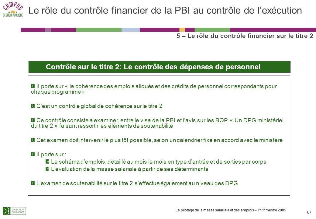 Le pilotage de la masse salariale et des emplois – 1 er trimestre 2009 66 Le rôle du contrôle financier de la PBI au contrôle de lexécution 5 – Le rôl
