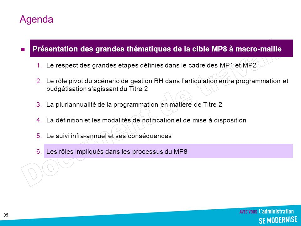 35 Agenda Présentation des grandes thématiques de la cible MP8 à macro-maille 1.Le respect des grandes étapes définies dans le cadre des MP1 et MP2 2.