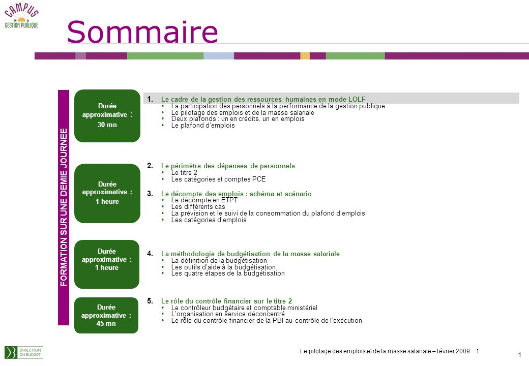 Le pilotage des emplois et de la masse salariale – février 2009 1 Sommaire 1 1 1.