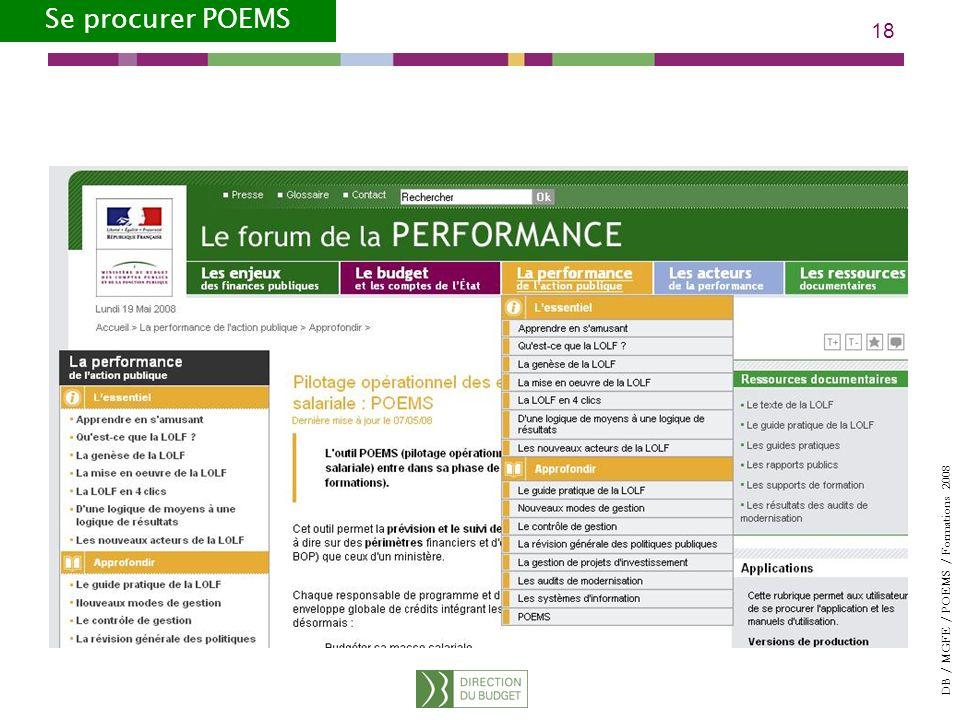 DB / MGFE / POEMS / Formations 2008 18 Se procurer POEMS