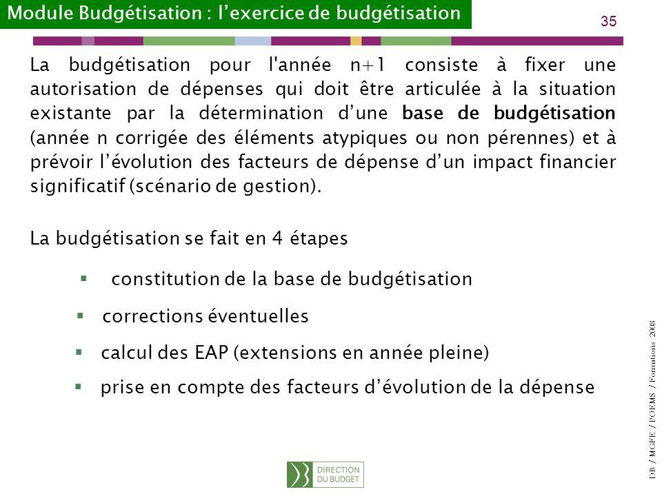 DB / MGFE / POEMS / Formations 2008 35 La budgétisation pour l année n+1 consiste à fixer une autorisation de dépenses qui doit être articulée à la situation existante par la détermination dune base de budgétisation (année n corrigée des éléments atypiques ou non pérennes) et à prévoir lévolution des facteurs de dépense dun impact financier significatif (scénario de gestion).