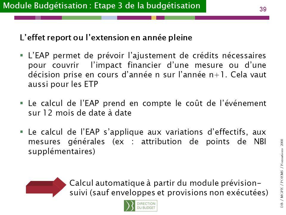DB / MGFE / POEMS / Formations 2008 39 Leffet report ou lextension en année pleine LEAP permet de prévoir lajustement de crédits nécessaires pour couvrir limpact financier dune mesure ou dune décision prise en cours dannée n sur lannée n+1.