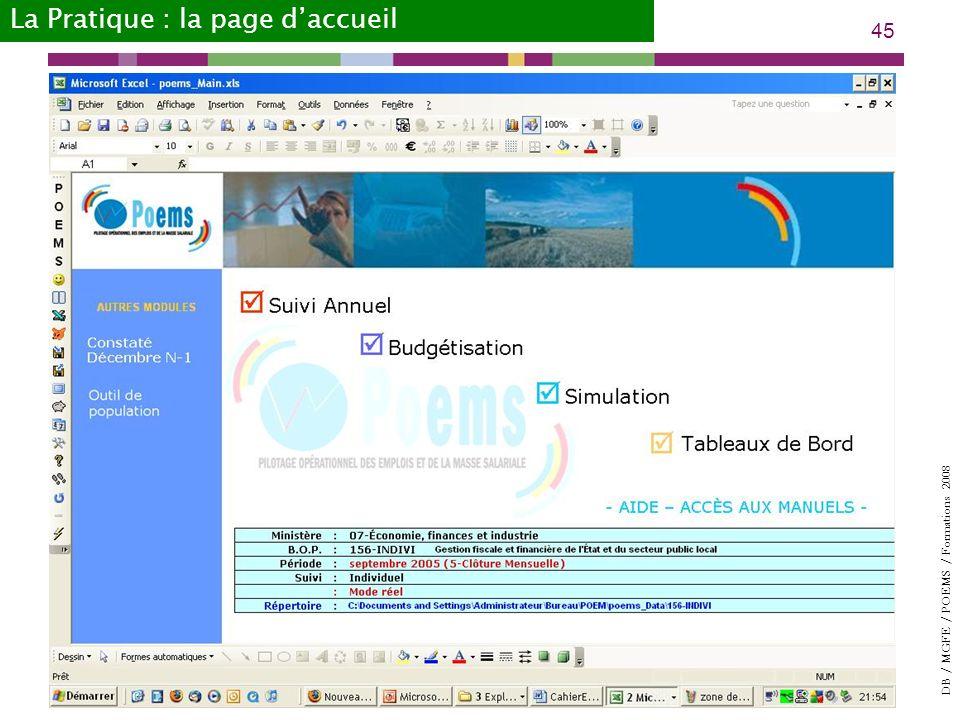 DB / MGFE / POEMS / Formations 2008 45 La Pratique : la page daccueil